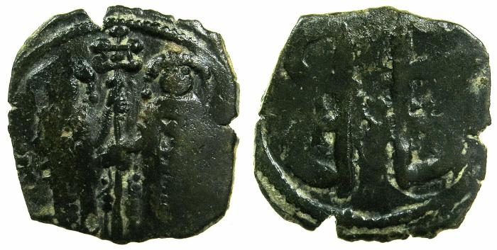 Ancient Coins - BYZANTINE EMPIPRE.Andronicus II and Michael IX AD 1294-1320.AE.Assarion Class XVI.Mint of CONSTANTINOPLE.