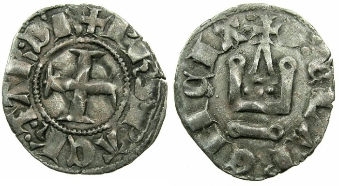 World Coins - CRUSADER.Principality of ACHAIA.Philip of Taranto AD 1307-1313.Bi.Denier.Type 2.