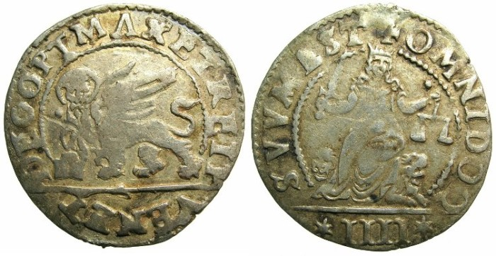 Ancient Coins - ITALY.VENICE.Alvise I Mocenigo AD 1570-1577.Anonymous 4 gazzetta.issued by decree 10th April 1570.