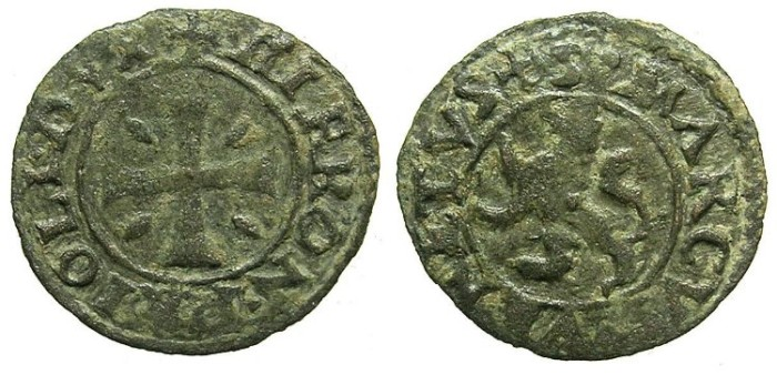 "Ancient Coins - CRUSADER.CYPRUS under VENICE.Girolamo Priuli AD 1559-1567.Bi.Denier ""Carzia per Cipro""."