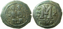 Ancient Coins - BYZANTINE EMPIRE.Justin II AD 565-578.AE.Follis, struck AD 574/75.Mint of NICOMEDIA.
