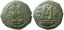 Ancient Coins - BYZANTINE EMPIRE.Justin II AD 565-578.AE.Follis, struck AD 574/75.Mint of NICOMEDIA.