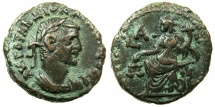 Ancient Coins - EGYPT.ALEXANDRIA.Diocletian AD 284-305.Billon Tetradrachm, struck AD 284/85.~#~.Dikaiosyne enthroned