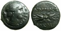 Ancient Coins - SICILY.Agathokles 317-289 BC.AE.22.2mm.~~~Artemis-Soteira. ~#~.Thunderbolt.
