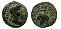 Ancient Coins - FLAVIA PHILADELPHIA.Domitia, wife of Domitian Augusta AD 82-96.AE.15.2mm. ~#~ Grape bunch.