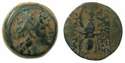 Ancient Coins - SELEUCID EMPIRE.ANTIOCH.Tryphon C.141-138 BC.AE.18.3mm.~#~.macedonian helmet decorated with spike and Ibex horn
