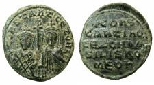 Ancient Coins - BYZANTINE EMPIRE.Constantine VII Porpyrogentus AD 913-959, regency issue under Zoe AD 914-919.AE.Follis.Mint of CONSTANTINOPLE.