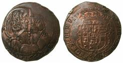 World Coins - ITALY.SAVOY.Carlo Emanuelle II 1639-1675 Regency issue with his mother Maria Christina 1639-1648.AE.Mezza Lire.1642.