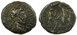 Ancient Coins - EGYPT.ALEXANDRIA.Commodus AD 180-193.Billon Tetradrachm, struck AD 183/84. ~#~.Emperor, Pronoia and Two soldiers standing.