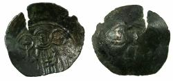 Ancient Coins - BYZANTINE EMPIRE.Andronicus II Palaeologus AD1282-1328.AE.Trachy. Mint of THESSALONIKI. Reverse brockage.