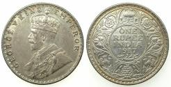 World Coins - INDIA.British Rule.George V 1910-1936.AR.One Rupee 1917 Bombay mint.