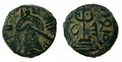 World Coins - ISLAMIC.The Caliphate of Abd Al-Malik AD 685-705..AE.Fals.Mint of Halab ( Aleppo ). Small flan.