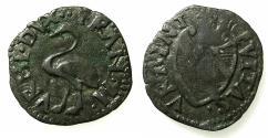 World Coins - ITALY.URBINO.Francesco Maria I AD 1508-1516 AND 1521-1538..Billon Quattrino. Ostrich