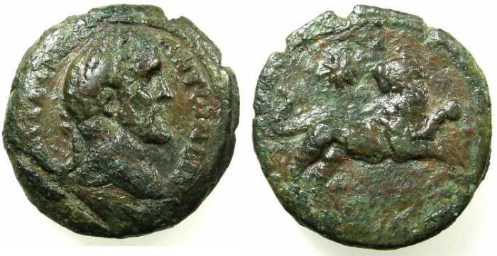 Ancient Coins - EGYPT.ALEXANDRIA.Antoninus Pius AD 139-161.AE.Diobol, struck AD 147/48.~#~.Lion right, star behind.