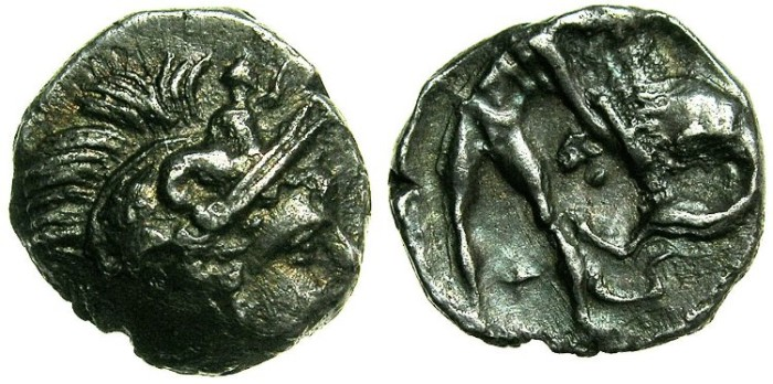 Ancient Coins - CALABRIA.Tarentum.4th-3rd cent BC.AR.Obol.~~~Athena.~#~Herakles fighting lion.