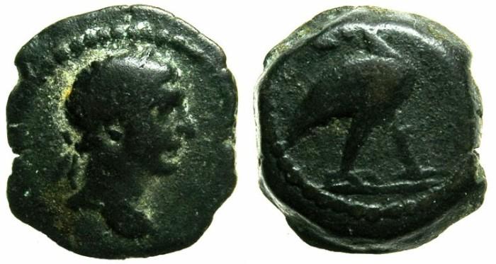 Ancient Coins - EGYPT.ALEXANDRIA.Trajan AD 98-117,anepigraphic issue.AE.Dichalkon.~#~IBIS.