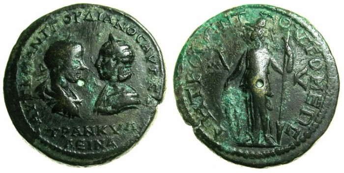 Ancient Coins - MOESIA INFERIOR.TOMIS.Gordian III and Tranquillina AD 241-244.AE.41/2 Assaria.~#~.Athena.
