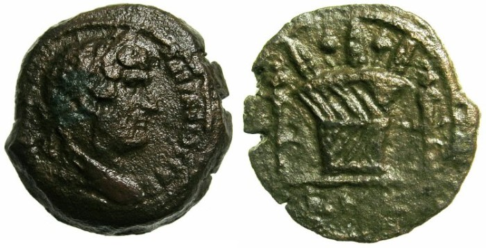 Ancient Coins - EGYPT.ALEXANDRIA.Hadrian AD 117-138.AE.Obol,struck AD 136/37.~#~.Modius between torches.