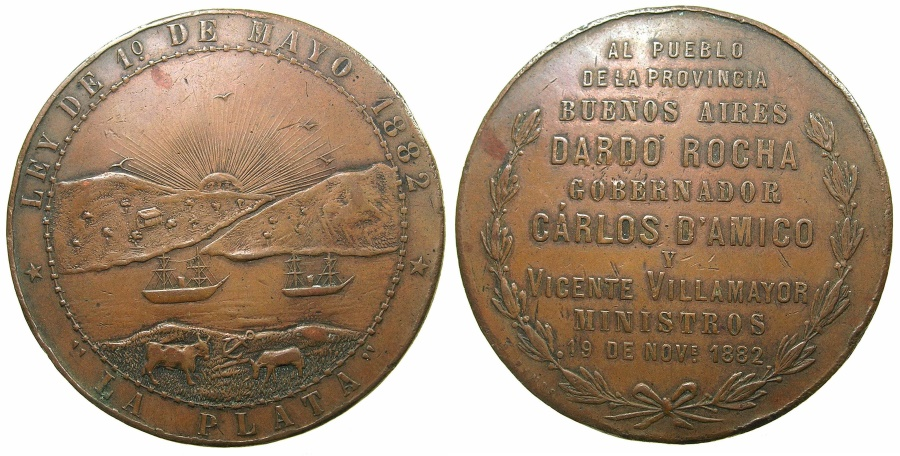 World Coins - ARGENTINA.LA PLATA.AE.Medallion 1882.