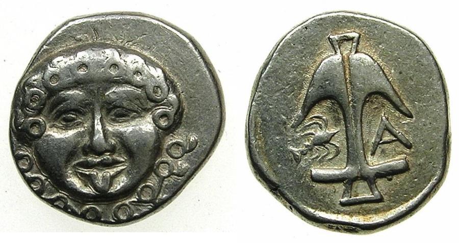 Ancient Coins - BLACK SEA.Apollonia Pontika.Mid to Late 4th cent BC.AR.Drachma.~~~Gorgoneion facing.