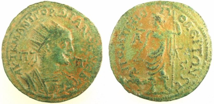 Ancient Coins - CILICIA.SOLI-POMPEIOPOLIS.Gordian III AD 238-244.AE.6 Assaria.Dionysos standing
