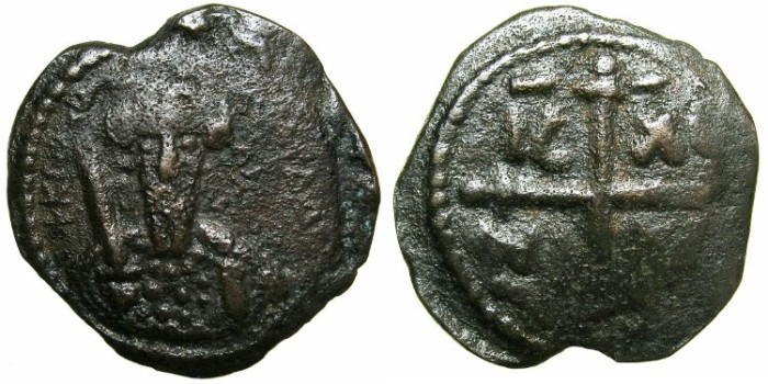 World Coins - CRUSADER STATES.ANTIOCH.Tancred AD 1104-1112.AE.Follis.2nd Type.~~~Facing bust of Tancred holding naked sword.