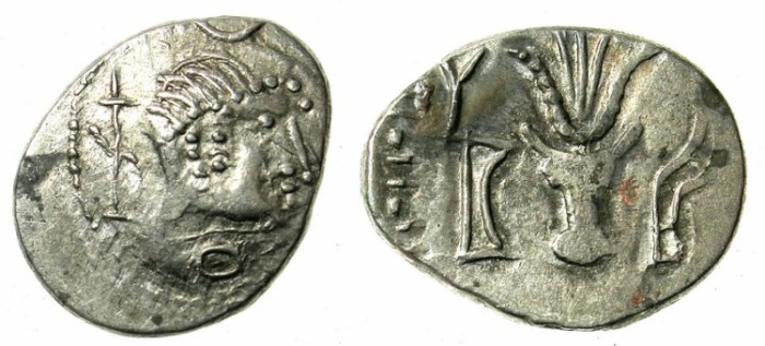 Ancient Coins -    ARABIA FELIX.Himyarites.Anonymous 1st cent BC.AR.Denarius.Male head RIGHT/ Bucranium