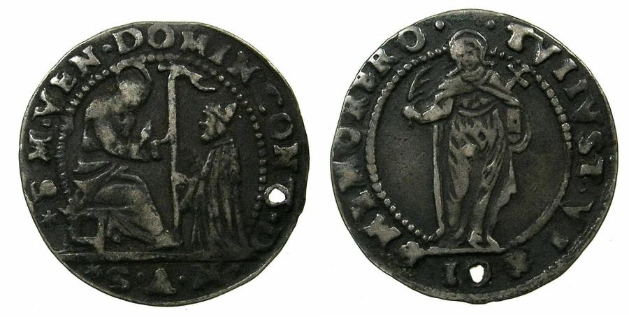 World Coins - ITALY.VENICE.Doge Domenico Contarini AD 1585-1675.AR.Sedicesimo de Scudo da 10 Soldi.