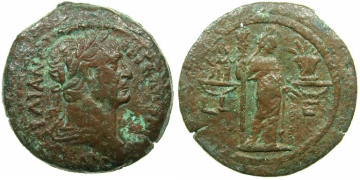 Ancient Coins - EGYPT.ALEXANDRIA.Trajan AD 98-117.AE.Drachma, struck AD 111/12.~#~.Demetra standing holding torch..****VERY RARE REVERSE TYPE *****