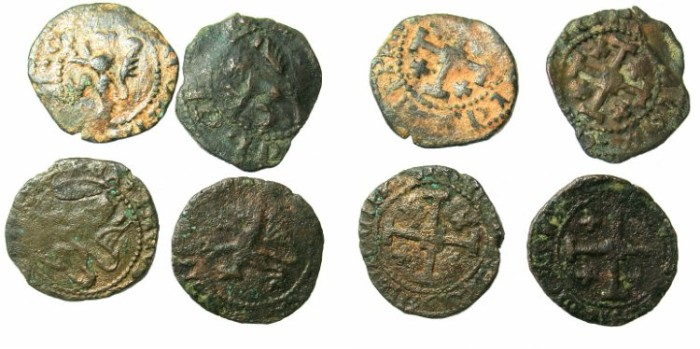 Ancient Coins - CRUSADER.CYPRUS.James II AD 1460-1473.AE.Sezins ( Four coins ) All Ex Slocum