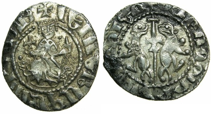 Ancient Coins - CILICIAN ARMENIA.Levon I AD 1199-1219.AR.Tram.~~~Jeweled crown.