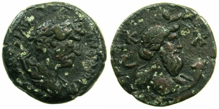 Ancient Coins - EGYPT.ALEXANDRIA.Hadrian AD 117-138.AE.Diobol, struck AD 136/137.~#~.Bust of Nilus.