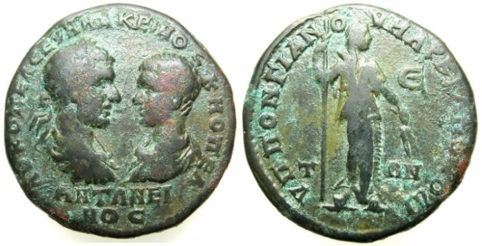 Ancient Coins - THRACE.MOESIA INFERIOR.MARCIANOPOLIS.Macrinus and Diadumenian Caesar AD 217-218.AE.5 Assaria.~#~.Demeter standing