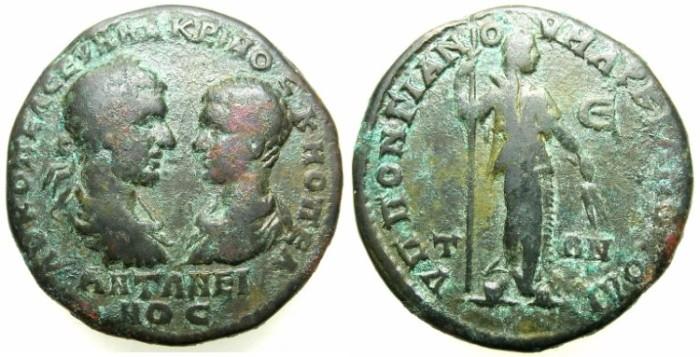 Ancient Coins - THRACE.MOESIA INFERIOR.MARCIANOPOLIS.Macrinus and Diadumenian Caesar AD 217-218.AE.5 Assaria.~#~.Demeter standing