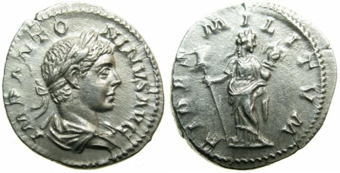 Ancient Coins - ROMAN.Elagabalus AD 218-222.AR.Denarius.Undated issue.Mint of ROME.~#~.Fides standing.