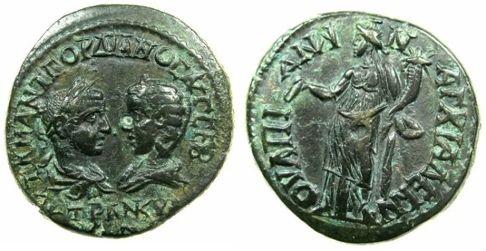 Ancient Coins - THRACE.ANCHIALUS.Gordian III and Tranquillina from AD 241-244.AE.~#~.Homonia standing.