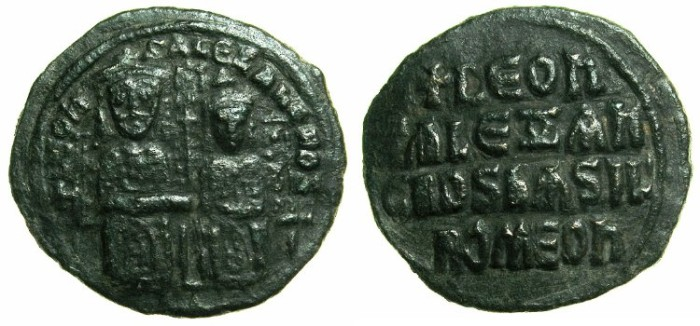 Ancient Coins - BYZANTINE EMPIRE.Leo VI The Wise with Alexander Co-Emperor AD 886-912.AE.Follis