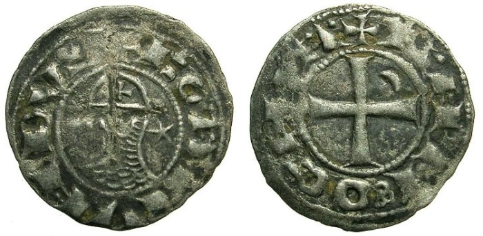 Ancient Coins - CRUSADER.Principality of  ANTIOCH. Bohemond III or IV c.1149-1233 Bi.Denier.class E.
