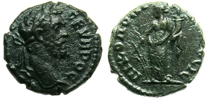 Ancient Coins - MOESIA INFERIOR.NIKOPOLIS AD ISTRUM.Septimius Severus AD 192-211.AE.14.~#~Tyche.