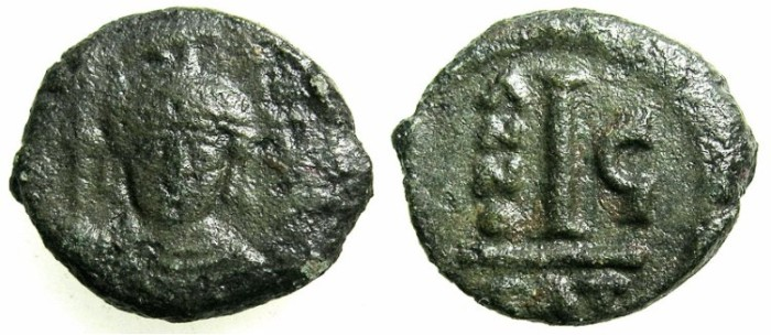 Ancient Coins - BYZANTINE EMPIRE.SICILY.Maurice Tiberius AD 582-602.AE.Decanummia.Struck AD 587/8.Mint of CATANIA.