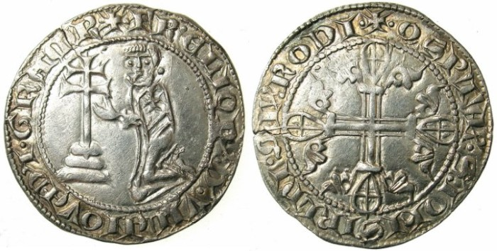 Ancient Coins - CRUSADER.RHODES.Helion of Villeneuve AD 1319-1346.AR.Gigliato.1st type.