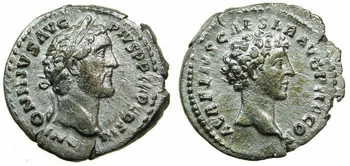 Ancient Coins - ROME.Antoninus Pius AD 138-161 with Marcus Aurelius Caesar.AR.Denarius, struck AD 141-143.