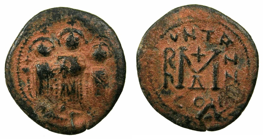 Ancient Coins - BYZANTINE.Contemporary imitation after Heraclius ( AD 610-642 ).AE.Follis.Mint of CONSTANTINOPLE.countermarked gamma or lamba