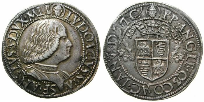 Ancient Coins - ITALY.Dukes of MILAN.Ludovico Maria Sforza AD 1494-1500.AR.Testone.~#~.Attractive renaissance portrait.