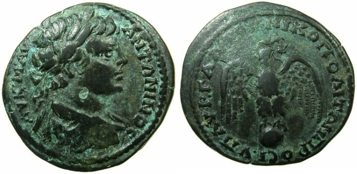 Ancient Coins - MOESIA INFERIOR.NIKOPOLIS AD ISTRUM.Caracalla Augustus AD 212-217.~#~.Eagle on globe.