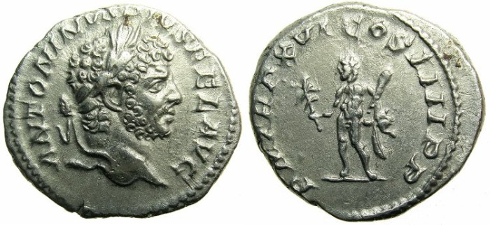 Ancient Coins - ROMAN.Caracalla Sole emperor AD 212-217.AR..Denarius.AD 213. ~~~Heracles holding branch and club.