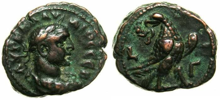 Ancient Coins - EGYPT.ALEXANDRIA.Claudius II Gothicus AD 268-270.Billon Tetradrachm, struck AD 269/270~#~.Eagle on thunderbolt.