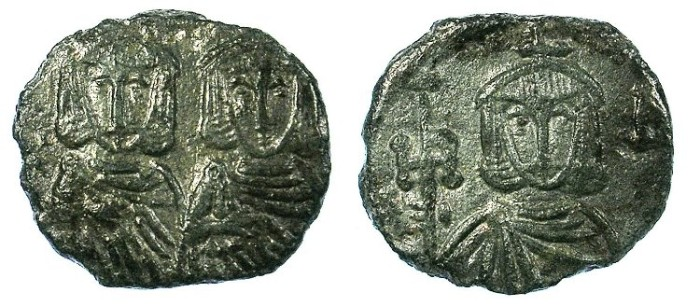 Ancient Coins - BYZANTINE EMPIRE.SICILY.Constantine V AD 741-775 with Leo IV AD 751-775.AE.Follis.Syracuse mint.