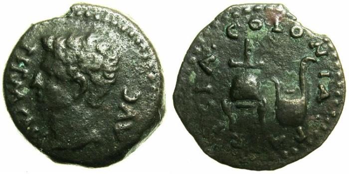 Ancient Coins - SPAIN.COLONIA PATRICIA ( CORDOBA ).Augustus 27BC - AD 14.AE.Semis.