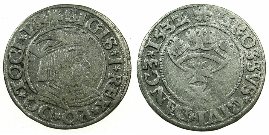 World Coins - POLAND.Sigismund I The Old AD 1506-1548.AR.Grosch 1532.DANZIG.